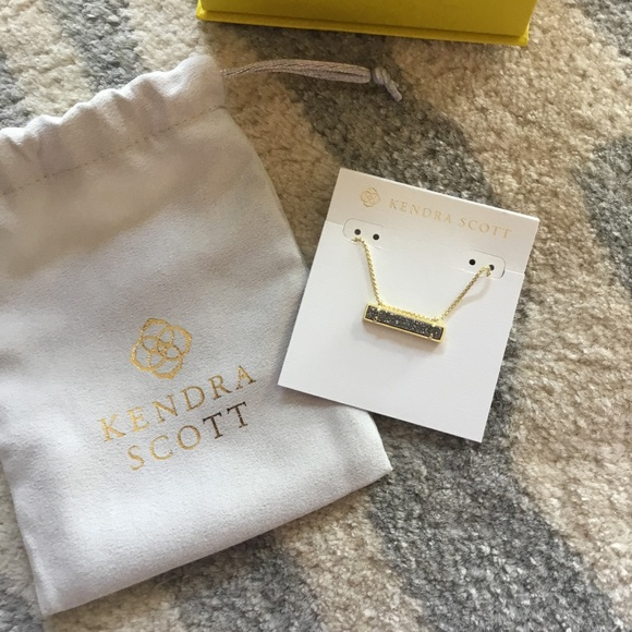 New Kendra Scott Leanor Gold Pendant Necklace In Sage Drusy $75